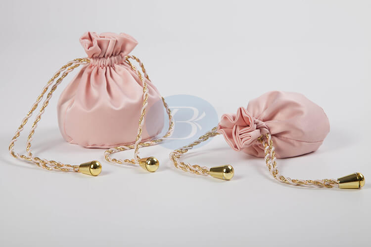 custom pink satindrawstring jewelry pouch wholesale manufacturer