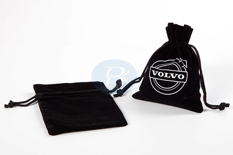 custom black velvet pouch bag factory