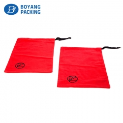 Red cotton drawstring pouch, custom cotton factory
