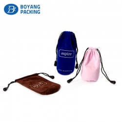Custom colourful velvet drawstring bags, small gift pouches factory
