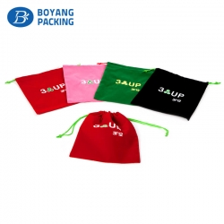 Custom colourful velvet pouches with logo manufacturer