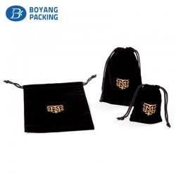 Logo process for gold stamping black velvet drawstring pouch