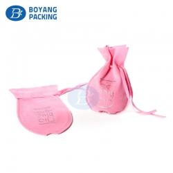 Custom rounded bottom pink printed velvet pouches
