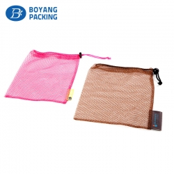 Pink and brown mesh drawstring pouch wholesale factory