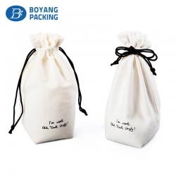 Superior quality white velvet drawstring bags wholesale