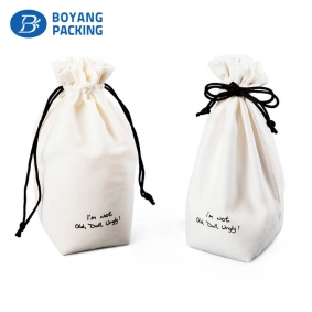 Superior quality white velvet drawstring bags wholesale