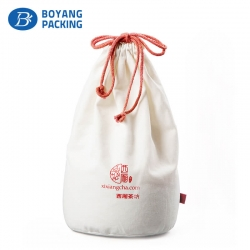 Succinct and practical white canvas red drawstring dust bag