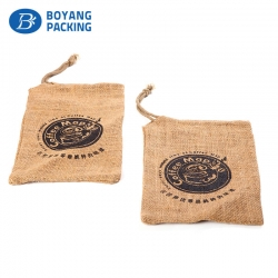 Customized jute drawstring bags for sale