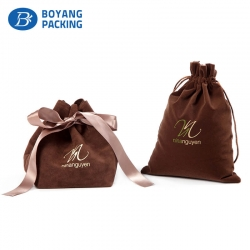 Brown velvet drawstring gift bags wholesale factory