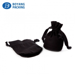 Exquisite cotton small black drawstring pouch factory