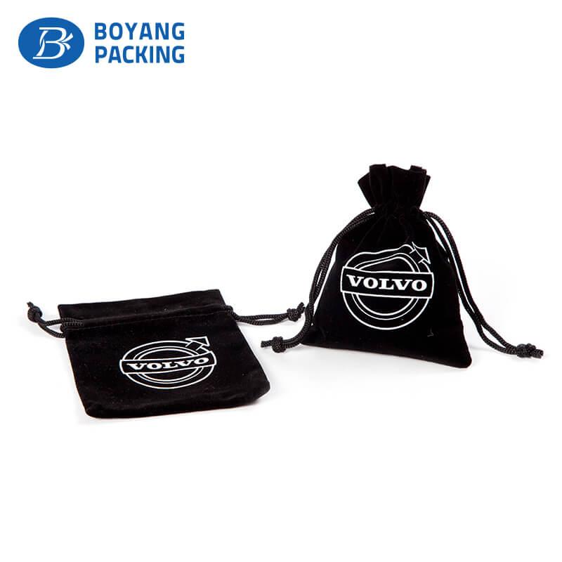 Beautifully patterned black velvet pouch bag, drawstring bag factory