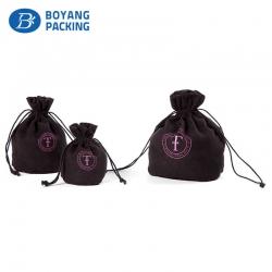 Exquisite small black velvet pouch wholesale factory