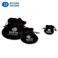 Black circular bottom small velvet gift pouch supplier