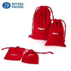 Customized design red velvet drawstring bag